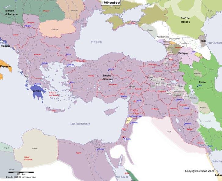 Carte montrant l'Europe en 1700 sud-est