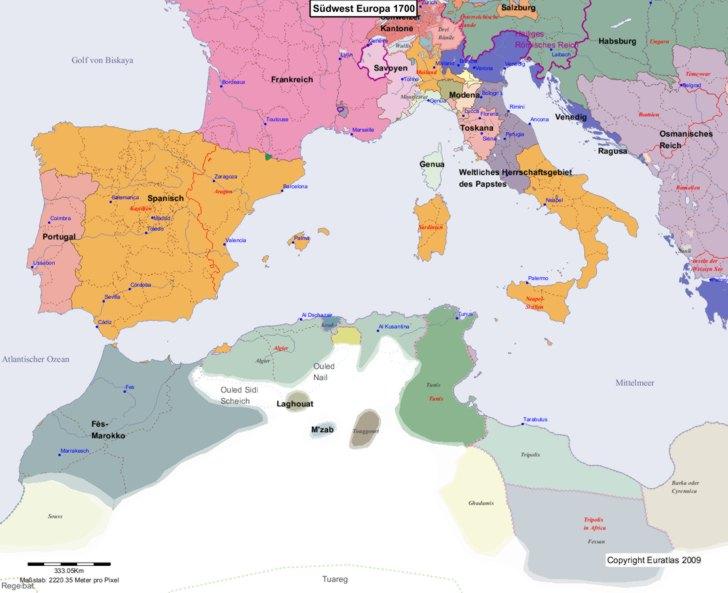Karte von 1700 Sudwest