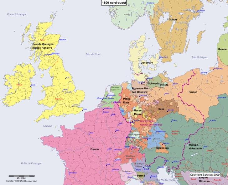 Carte montrant l'Europe en 1800 nord-ouest