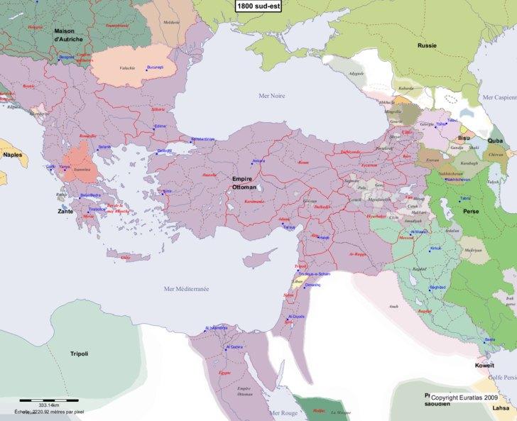 Carte montrant l'Europe en 1800 sud-est