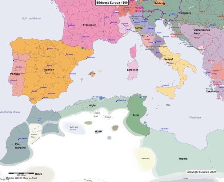 Karte von europa 1800 südwest