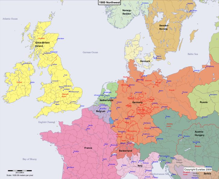 Map showing Europe 1900 Northwest