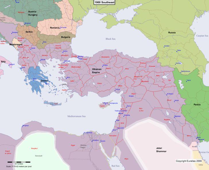 Map showing Europe 1900 Southeast