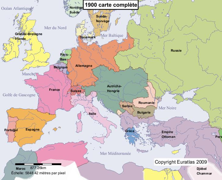 Carte complte de l'Europe en l'an 1900