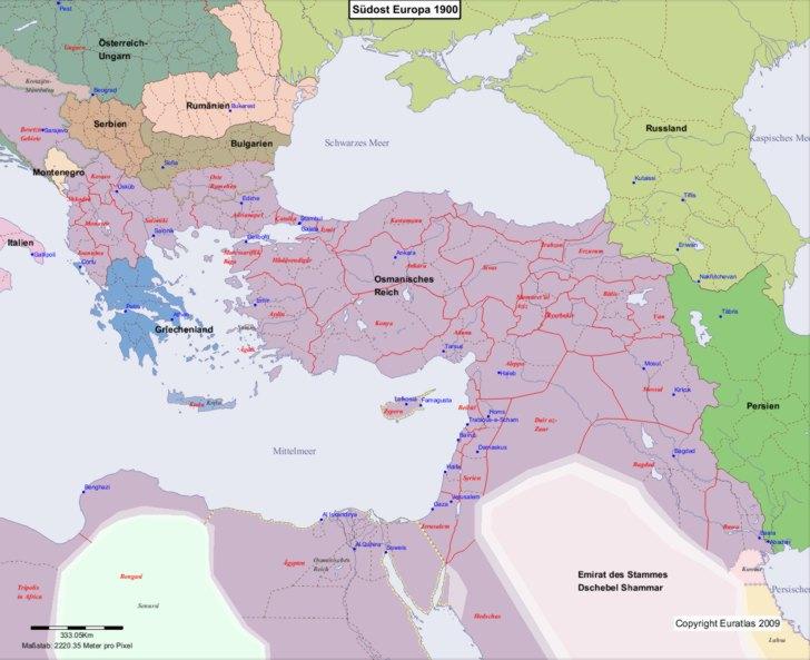 Karte von 1900 Sudost