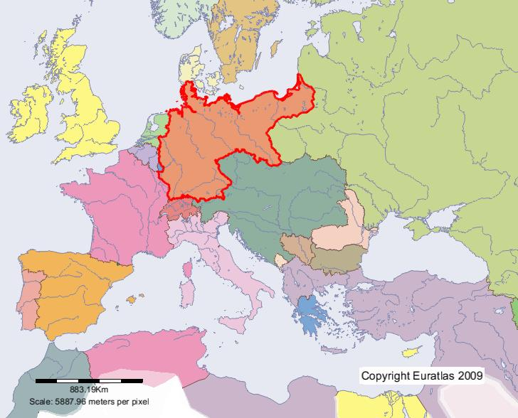 Euratlas Periodis Web Map of Germany in Year 1900 – Germany in Europe Map