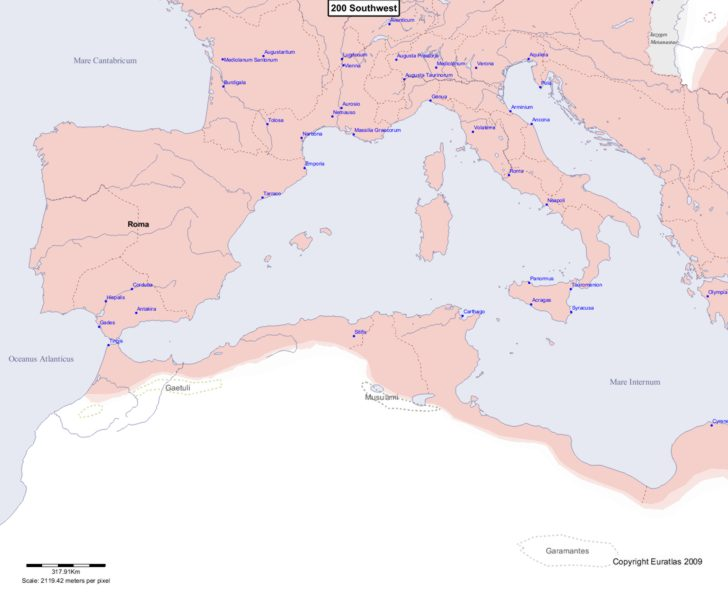 Map showing Europe 200 Southwest