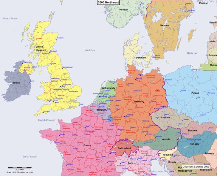Map showing Europe 2000 Northwest