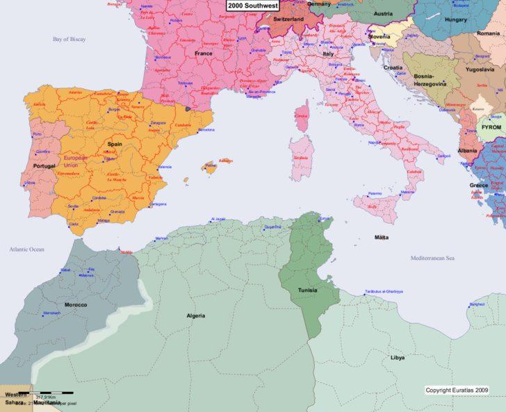 Map showing Europe 2000 Southwest
