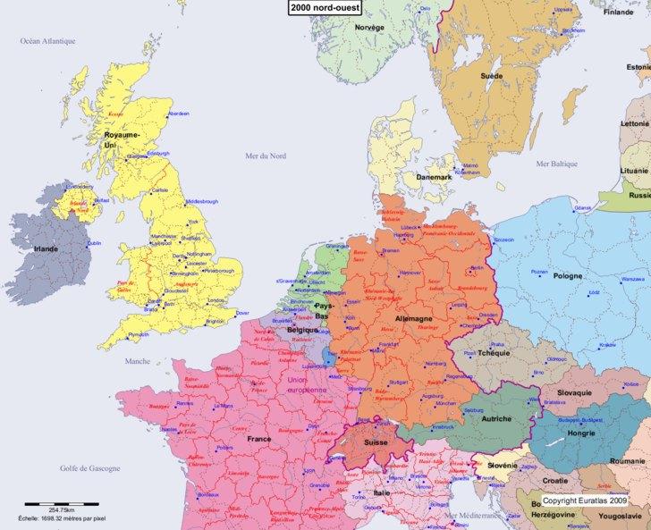 Carte montrant l'Europe en 2000 nord-ouest