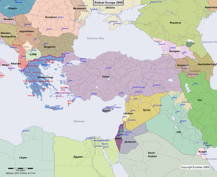 Karte von europa 2000 südost