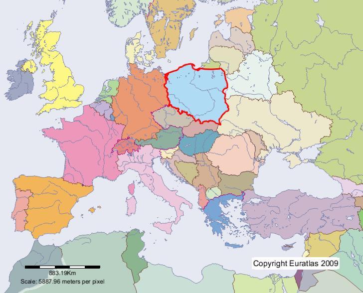 pologne sur la carte du monde