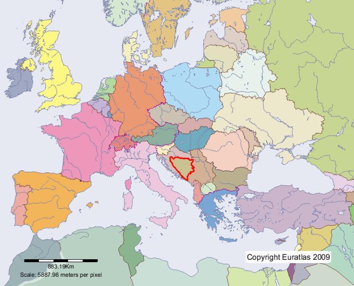 la bosnie herzegovine carte europe