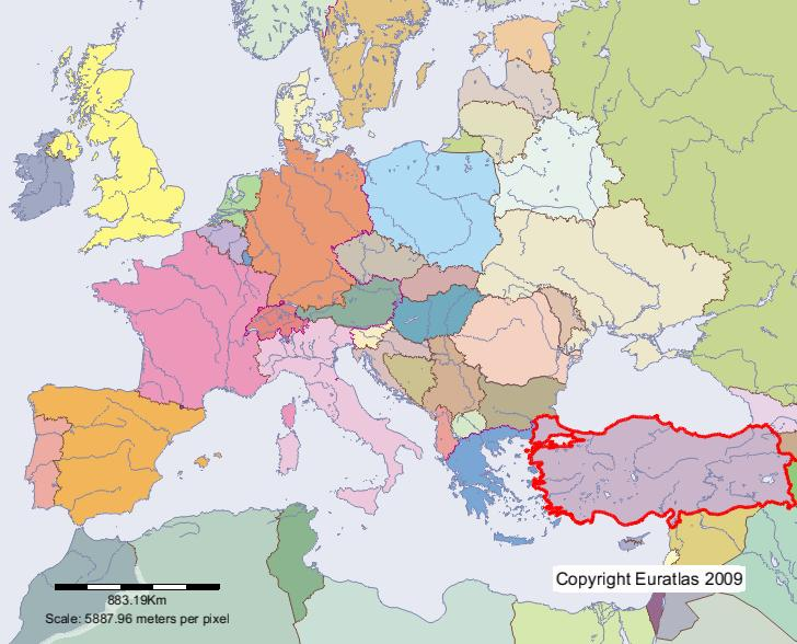 Euratlas Periodis Web Map of Turkey in Year 2000 – Turkey on a Map of Europe