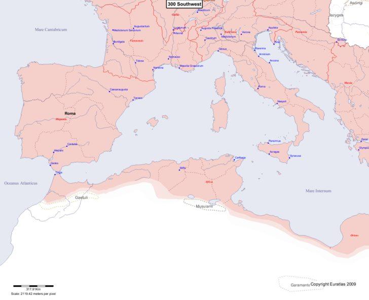 Map showing Europe 300 Southwest