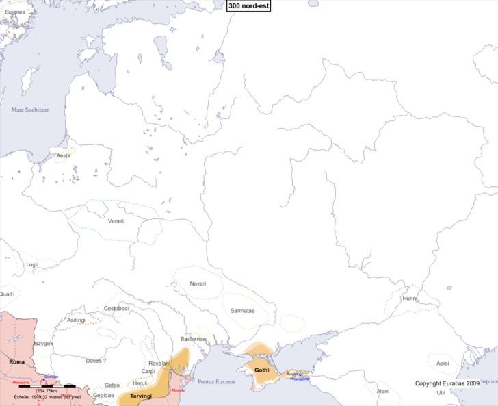 Carte montrant l'Europe en 300 nord-est