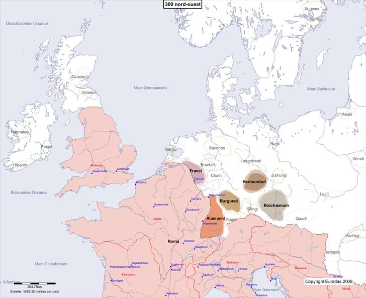 Carte montrant l'Europe en 300 nord-ouest
