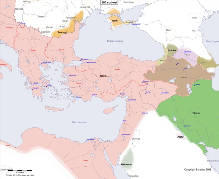 Carte montrant l'Europe en 300 sud-est