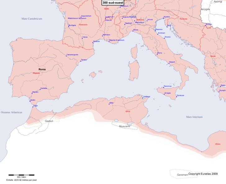 Carte montrant l'Europe en 300 sud-ouest