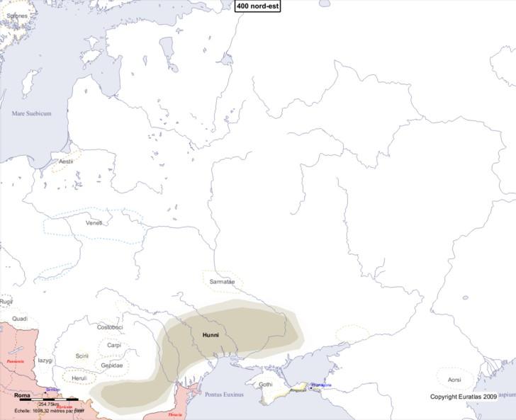 Carte montrant l'Europe en 400 nord-est
