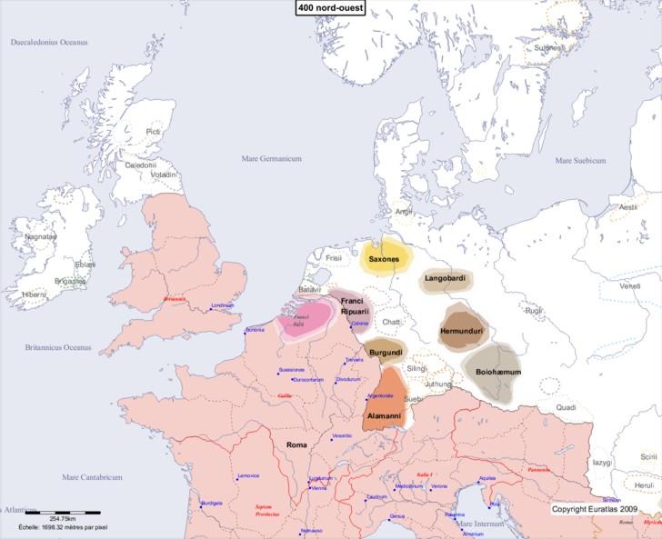 Carte montrant l'Europe en 400 nord-ouest