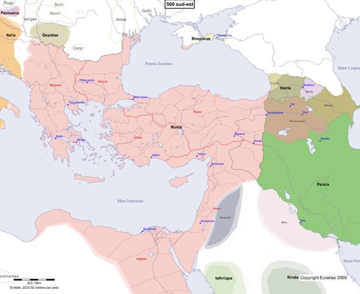 Carte montrant l'Europe en 500 sud-est