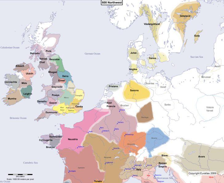 Map showing Europe 600 Northwest