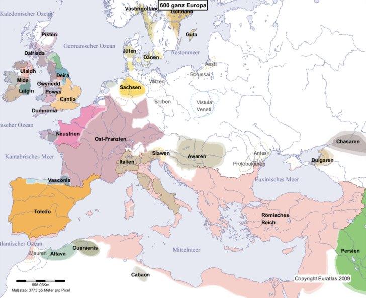 Hauptkarte von Europa im Jahre 600