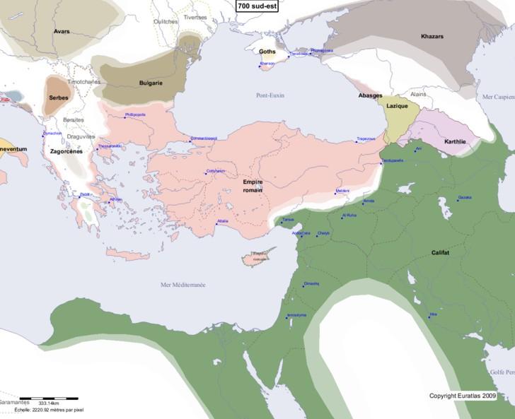 Carte montrant l'Europe en 700 sud-est
