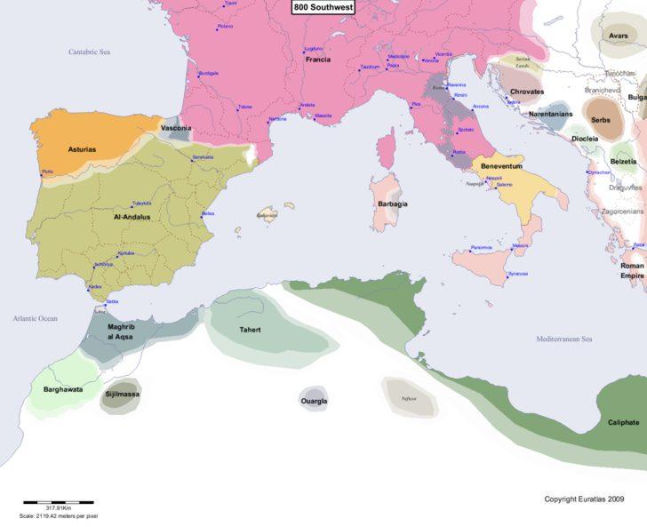 Map showing Europe 800 Southwest
