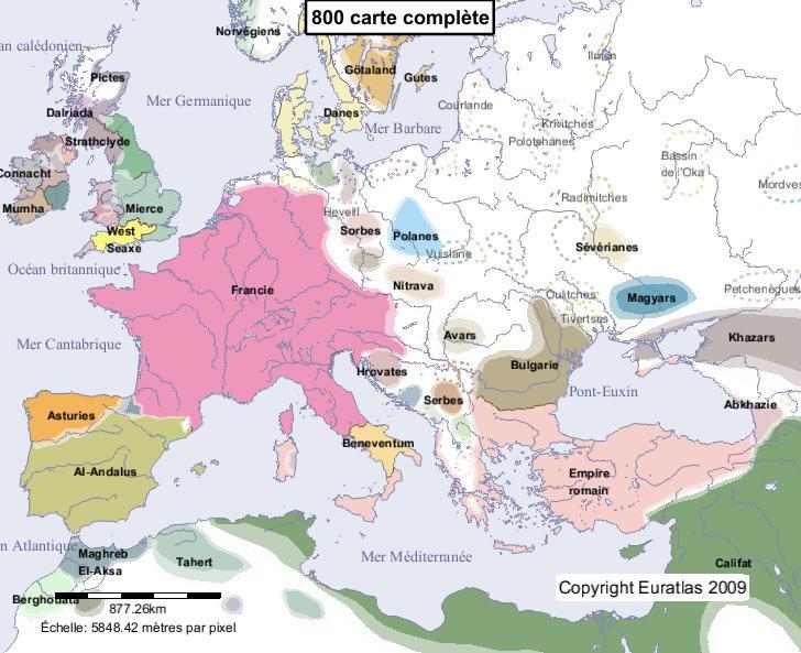 Carte complète de l'Europe en l'an 800