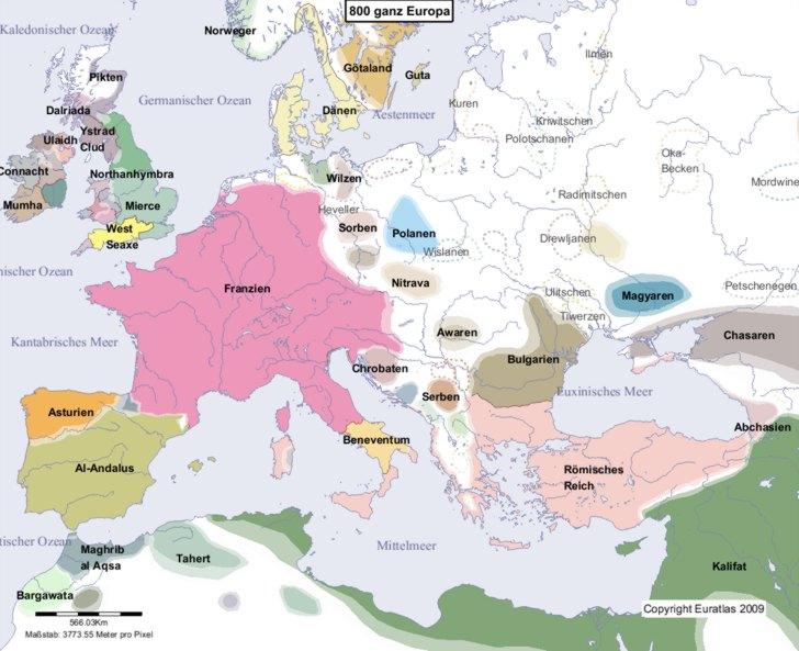 Hauptkarte von Europa im Jahre 800
