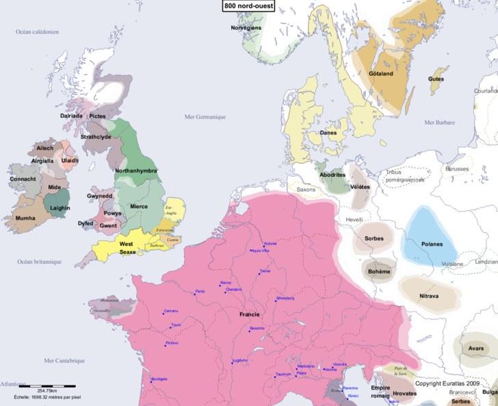 Carte montrant l'Europe en 800 nord-ouest