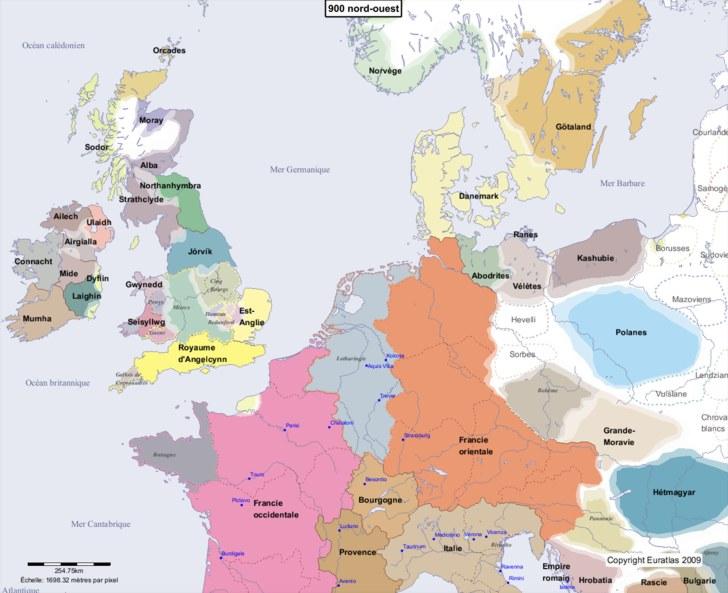 Carte montrant l'Europe en 900 nord-ouest