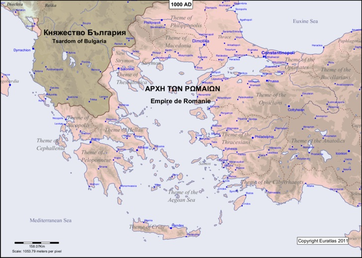 Map of the Aegean area in the year 1000