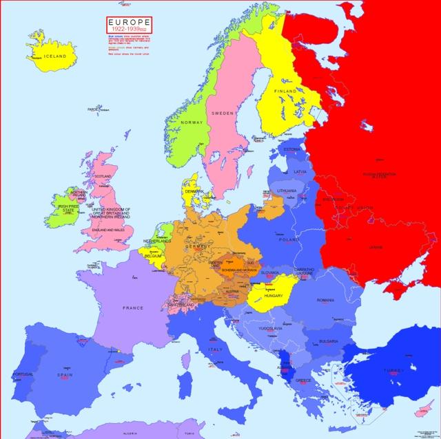 Hisatlas Map of Map of Europe 1922 1939