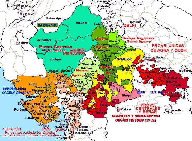 Hisatlas Map Of Rajputana Agency 1912