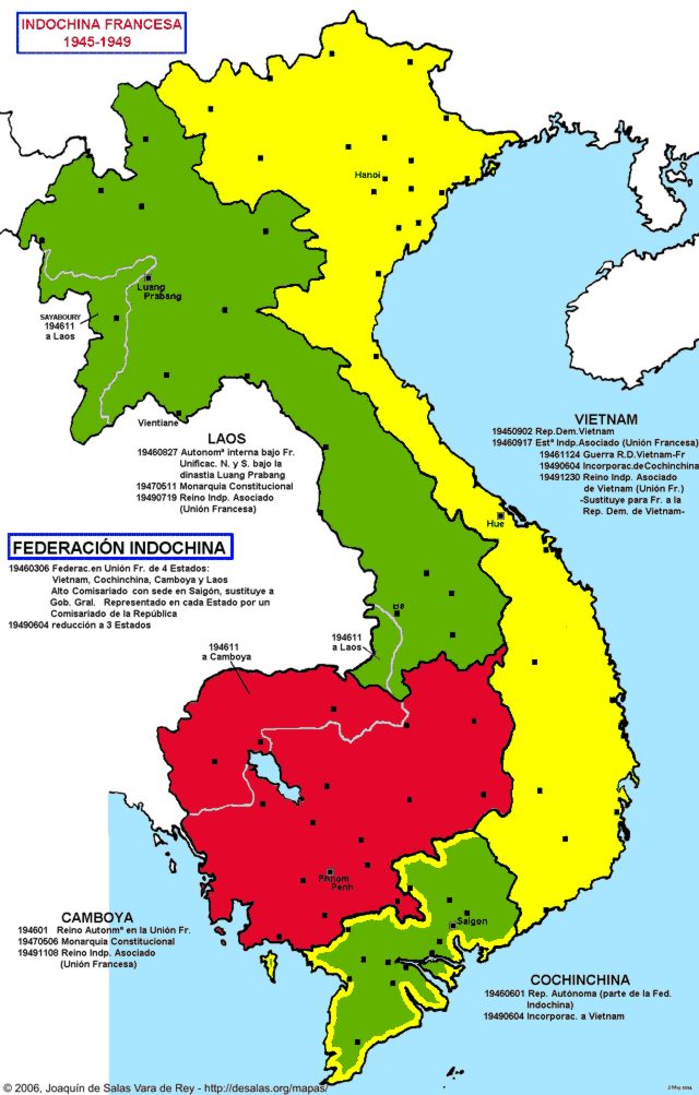 Hisatlas - Map of French Indochina 1945-1949