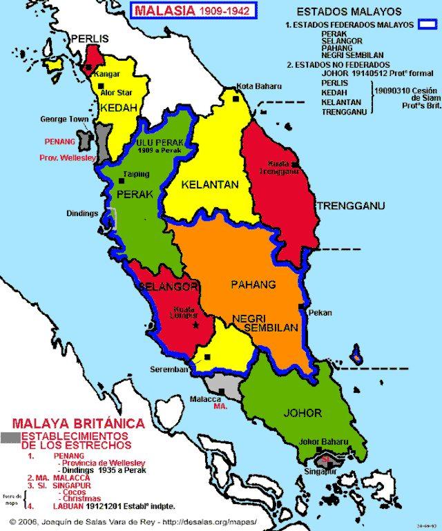 Peninsular Malaysia: Map Of Malay Peninsula 1909-1942