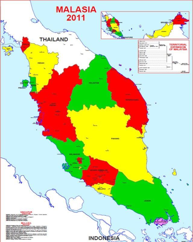 Malaysia On World Map Map: Map Of The Malay Peninsula 2011