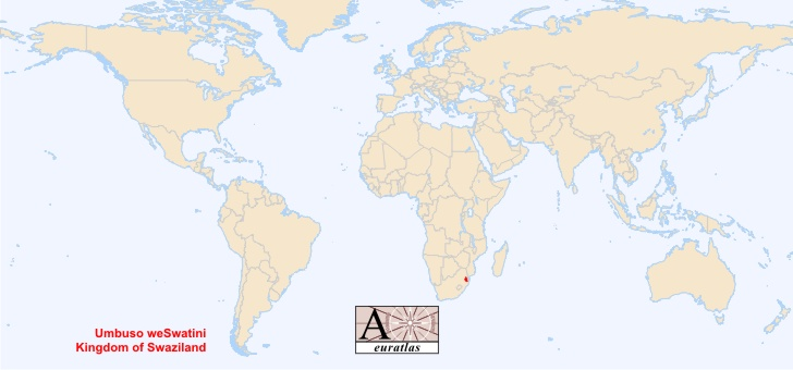 map of swaziland. Map showing Swaziland in