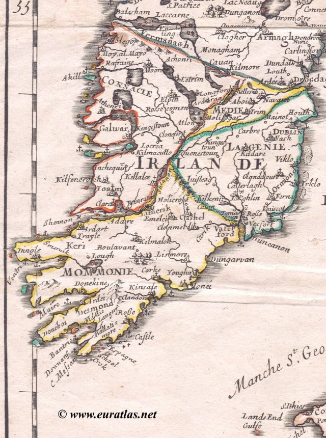 Map of the British Isles 1688 Ireland