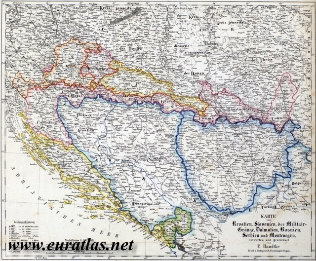 Croatia slavonia military frontier dalmatia bosnia serbia and general view of the flemming handtke map of croatia slavonia military frontier bosnia serbia and montenegro published about 1865 in glogau or glogow by gumiabroncs Choice Image