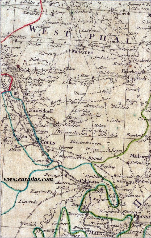 Carte Geographique Allemagne Cologne.Carte Geographique Des Postes D Allemagne 1786 Cologne Et