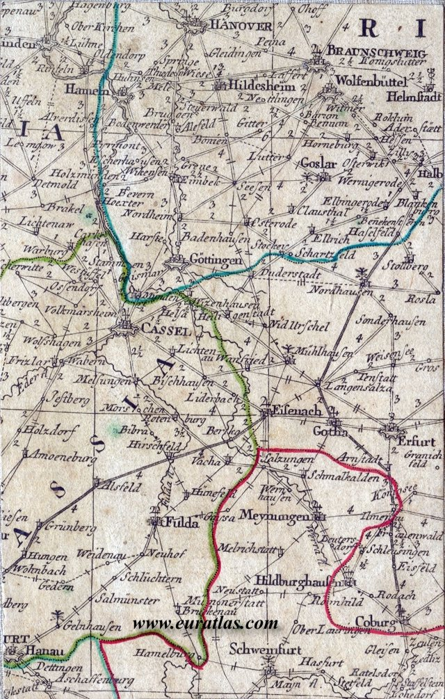 PostRoads Map of Germany 1786 Kassel Hanover and Brunswick