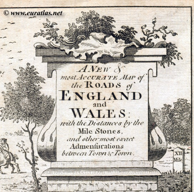 Road Map Of England And Wales With Towns.Roads Of England And Wales 1779 Title Cartouche