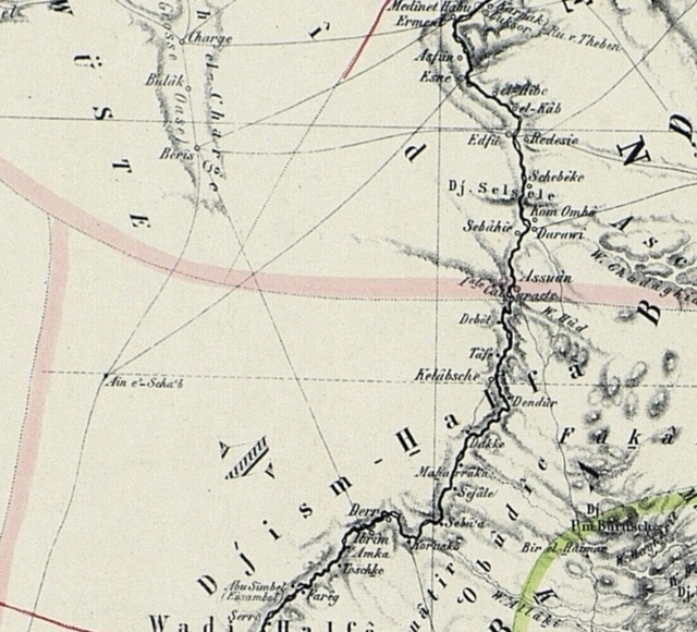 Map Of The Nile Lands 1862 Upper Egypt And Nubia