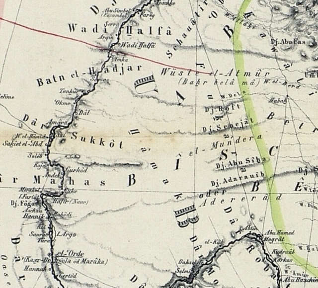 Map of the Nile Lands, 1862: : Wadi Halfa and North Sudan