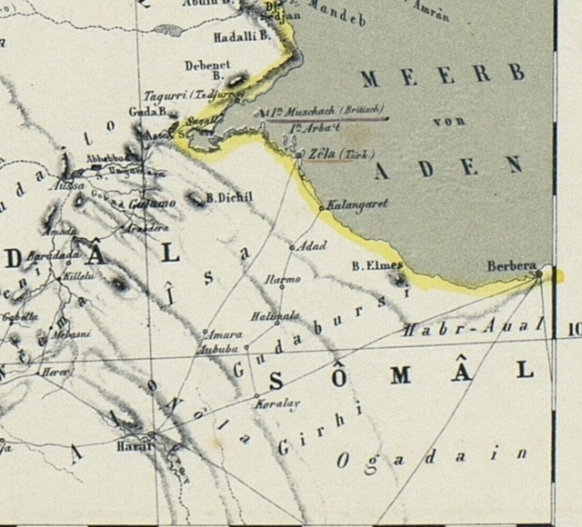 Map of the Nile Lands 1862 the Gulf of Aden