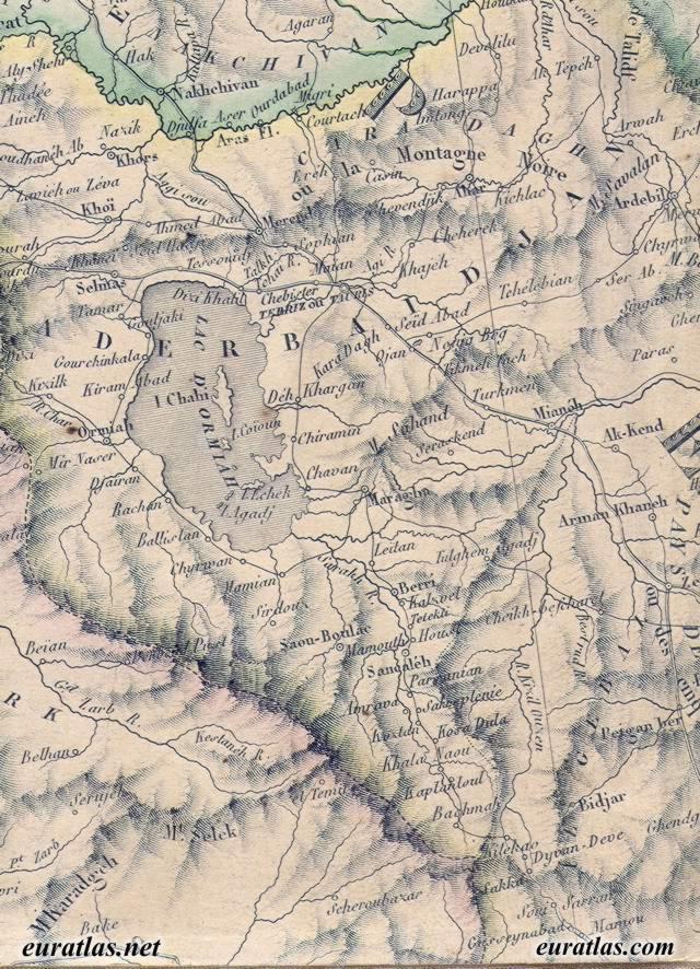 Map of the Ottoman Empire 1845 Iranian Azerbaijan